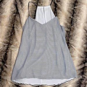EXPRESS: Black & White Striped Strappy Blouse